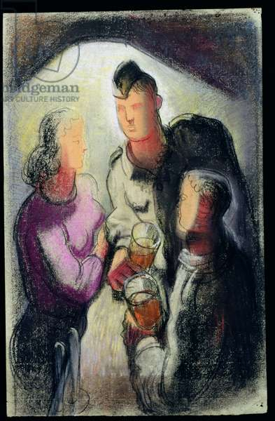 Soldier and Two Girls (pastel on paper)