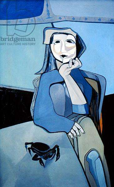 Seated Female Figure with Crab (oil on canvas)