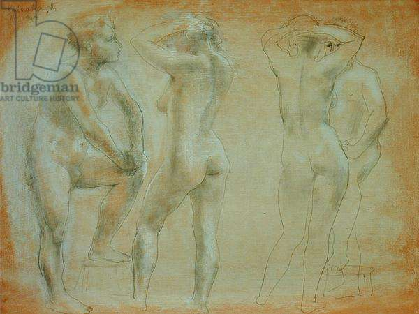 Four Figures, November 1949 (pencil and chalk on paper)