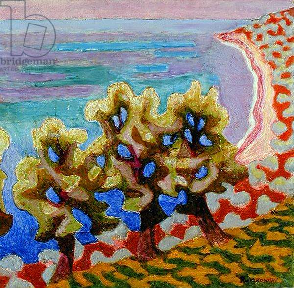 Olive Trees and the Sea (oil on canvas)