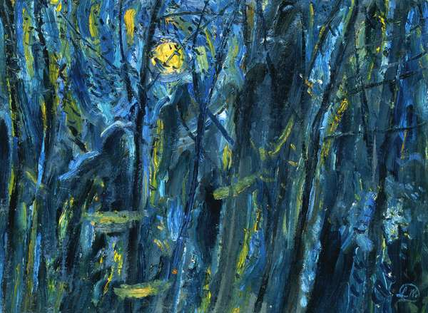 Moonlight by a Wood, Provence, 1988 (oil on canvas)