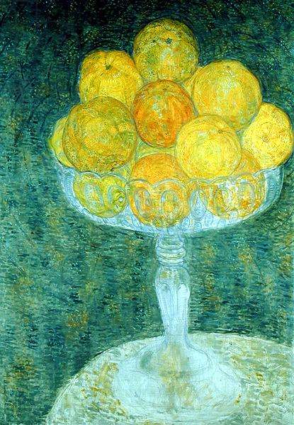 Oranges in a Compotiere (oil on canvas)