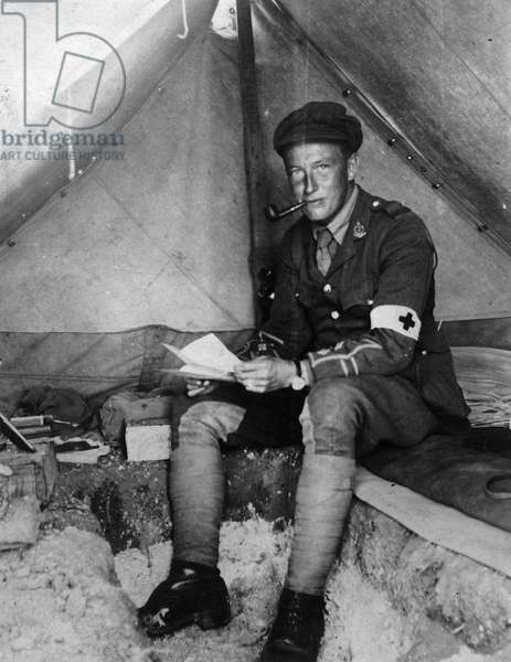 Portrait of Henry Lamb (1885-1960) Seated in a Tent (b/w photo)