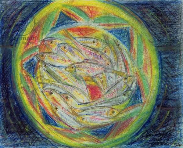 Sardines, 1986 (coloured chalks on paper)