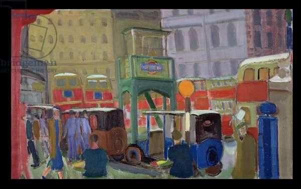 London Street Scene (oil on canvas)