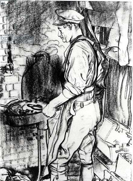 Farrier at Forge, c.1917 (black chalk on paper)