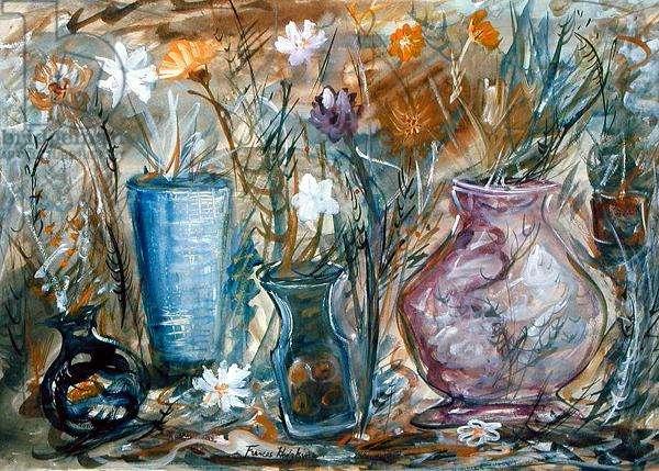Vases of Flowers (w/c on paper)