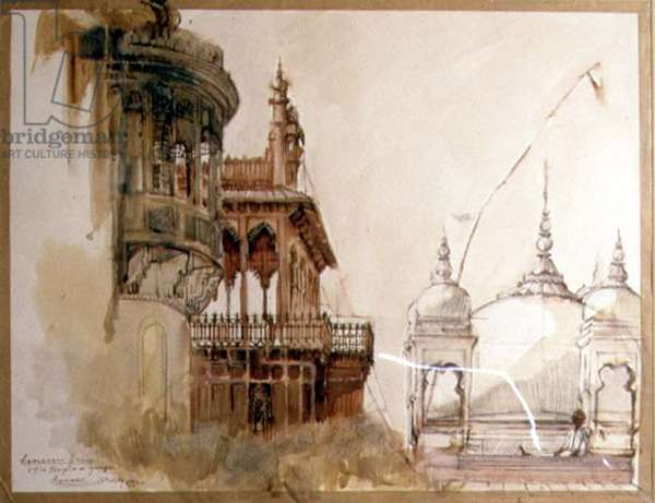 Old Ramnagur Palace and Temple, Banares, 1992 (pen and ink with w/c, lime wash and wax on paper)