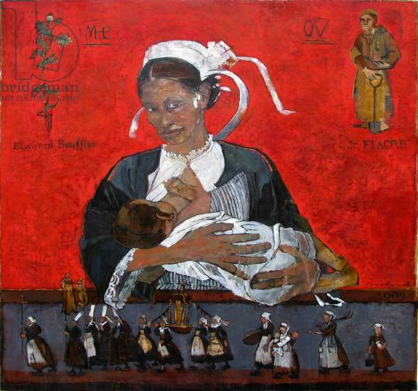 Breton Madonna (with St. Fiacre), 2009 (oil & mixed media on panel)
