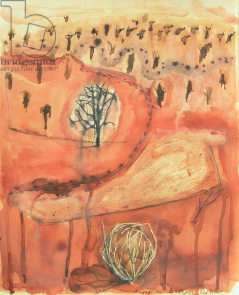 Bushland, Red Desert, from the series, 'Australian Landscapes', 1996 (oil, gouache, ink and w/c on paper)