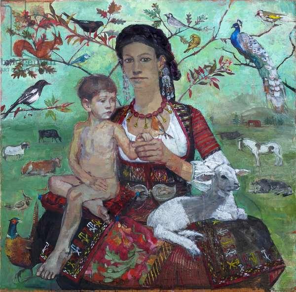 Elzéard & the Robin, 2010 (oil on panel)