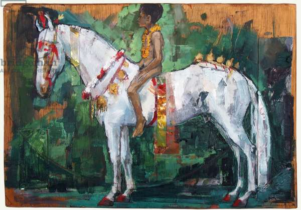 Changeling Boy on a White Horse, 2017 (oil on & mixed media on board)