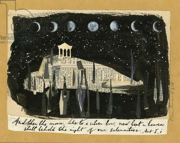 Athens & the Moon, 2017 (collage & mixed media on brown paper)