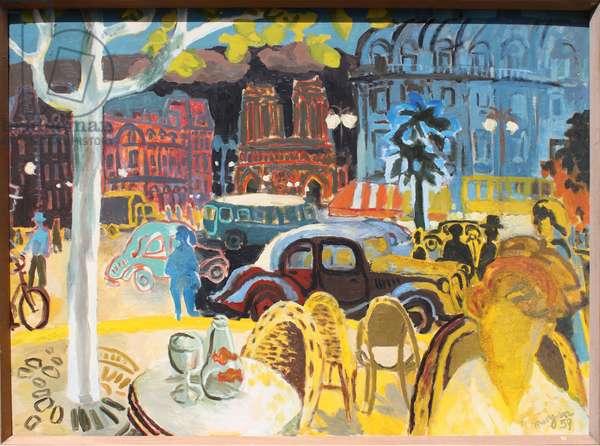 Parisienne Street Scene, 1959 (oil on board)