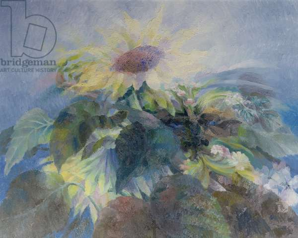 The Green Man with Sunflowers (Nocturne) 1994 (oil on canvas)