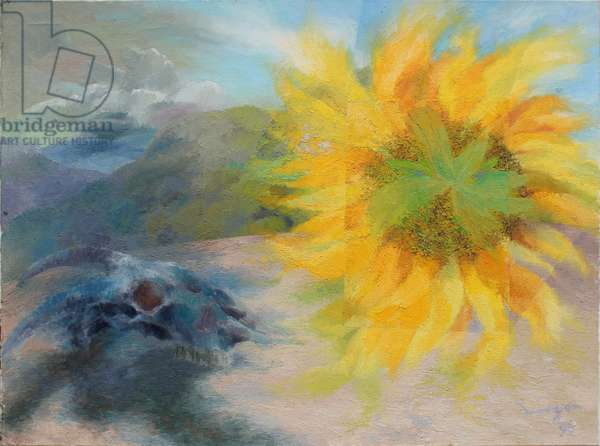 Sunflower and Skull, 1996 (oil on canvas)