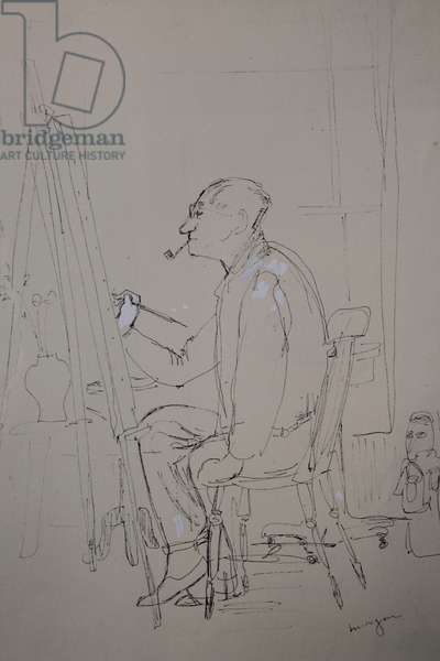Cedric Morris at his Easel, c.1963 (pen & ink)