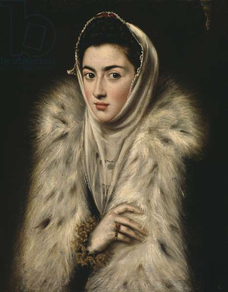 Lady in a Fur Wrap (oil on canvas)