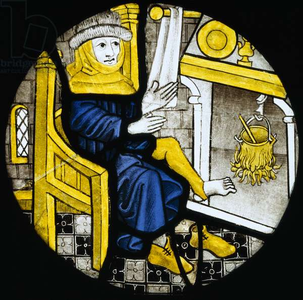 Roundel depicting the month of February, late 15th century (stained glass)
