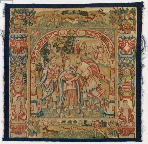 Tapestry panel depicting The Queen of Sheba meeting Solomon, made in Sheldon, England, 16th century (wool)