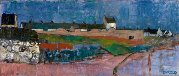 Catterline Coastguard Cottages (oil on canvas)
