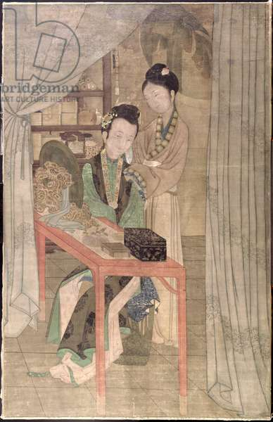 Woman at her Toilet (gouache on silk)