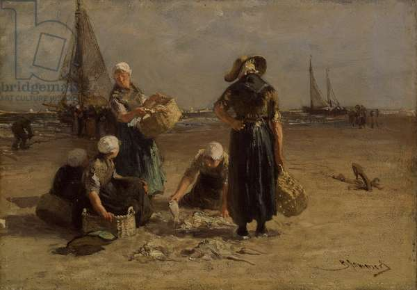 Fishwives on the Beach (oil on canvas)