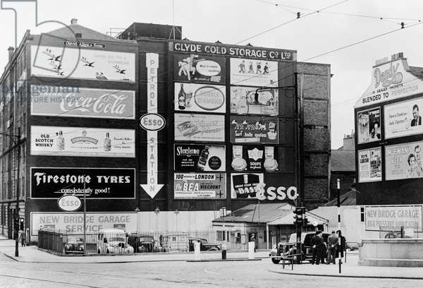 Adverts in Clyde Place, 1955 (b/w photo)