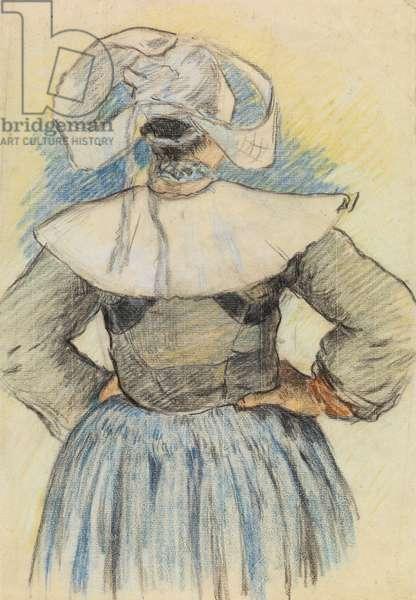 La Bretonne, Pont-Aven c.1886 (chalk on paper)