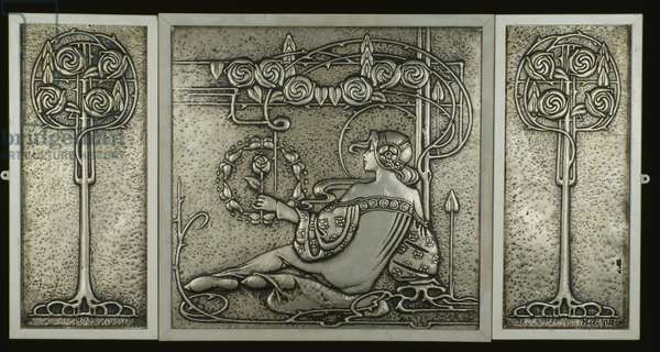 Triptych panel with rose tree, c.1905 (tin)