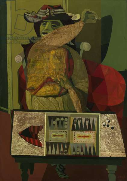 The Woman and the Trictrac Game, 1945-46 (oil on canvas)