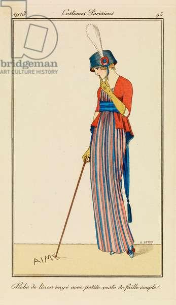 Plate 95 from 'Costumes Parisiens', 1913 (pouchoir print)