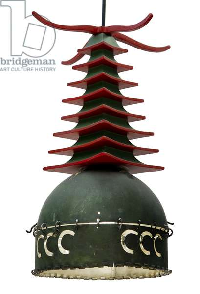 Light fitting with a wooden pagoda top, from the Chinese Room at the Ingram Street Tea Rooms (wood)