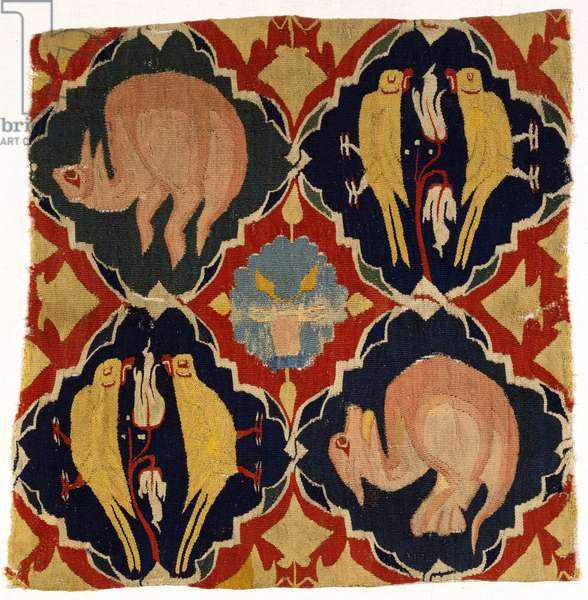 Tapestry fragment depicting birds and beasts, from Franconia or Upper Rhine, 1300-1350 (wool)