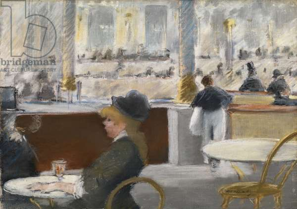 A Cafe, Place du Theatre Francais, c.1877-78 (pastel on canvas)