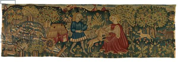Tapestry strip depicting Virgin and Unicorn, possibly from Arras, 1425-50 (wool & linen)