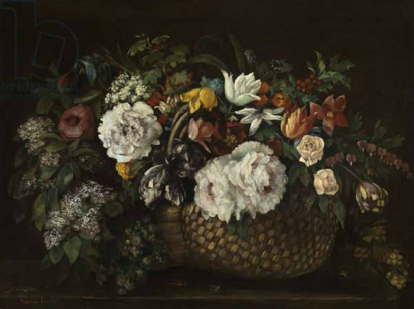 Flowers in a Basket, 1863 (oil on canvas)