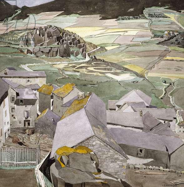 The Village of La Lagonne (w/c on paper)