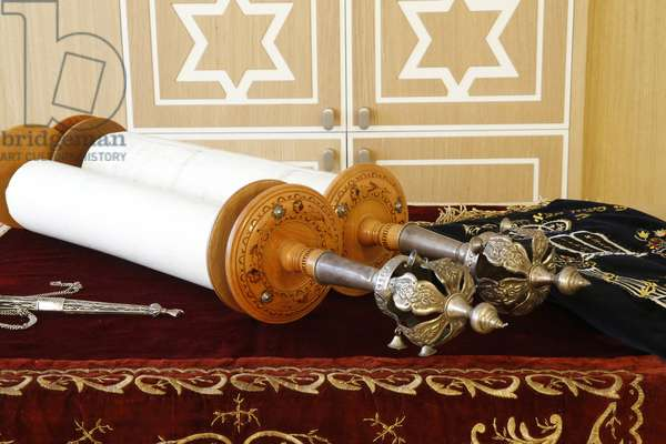 Torah scroll and the two Rimonim, Paris, France