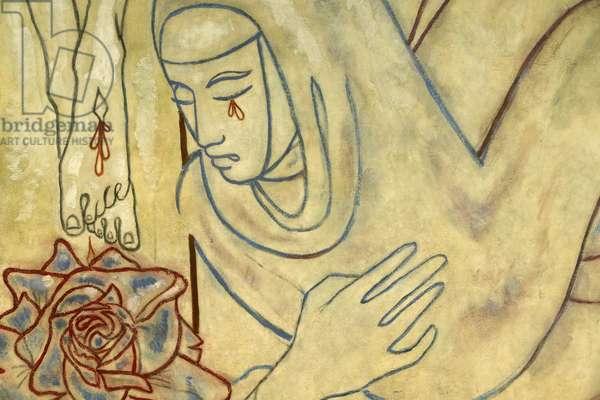 Our Lady's chapel mural part of Notre Dame de France catholic church in London, 1959 (fresco)