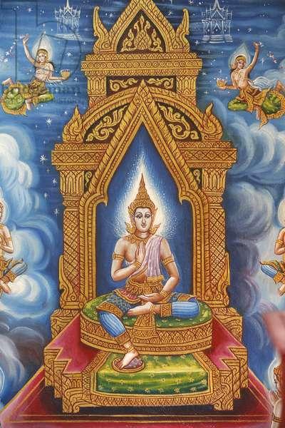 Buddhist fresco in Wat Chiang Mun, Chiang Mai. Thailand