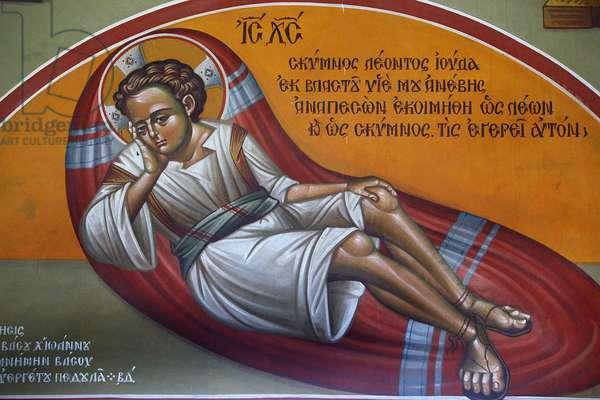 Fresco in Holy cross church, Pedoulas. Jesus (Emmanuel) sleeping, 20150510, Pedoulas, Cyprus