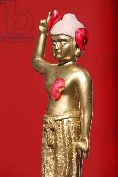 France, Ile-de-France, Vincennes : Child Buddha, Wesak ceremony, Buddhist temple of the Pagode de Vincennes