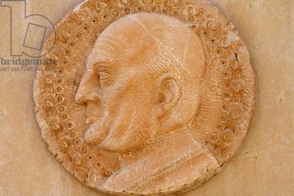 Annunciation basilica sculpture depicting Pope John XXIII, Nazareth, Israel
