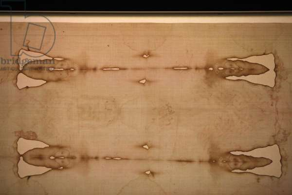 Detail of Shroud of Turin in Duomo (cathedral), Turin, Italy