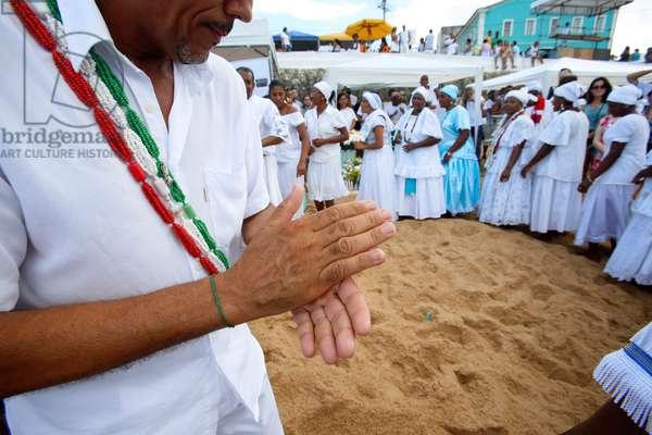 Brazil, Bahia, Salvador : Iemanja festival on Rio Vermelho beac
