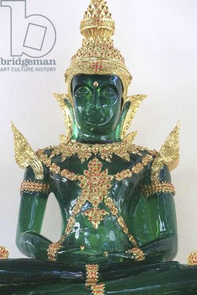 Bussy-Saint-Georges, Ile-de-France, France, le 7/12/2014 - Phra Keo. Emerald Buddha statue. Wat Velouvanaram Buddhist monastery.