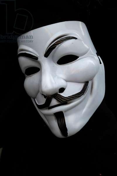 Guy Fawkes mask. Anonymous mask. (photo)