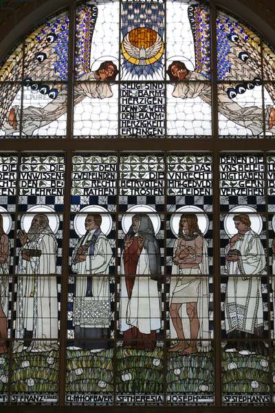 Am Steinhof church stained glass by Koloman Moser, Vienne, Autriche