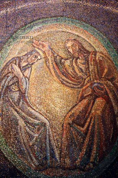 Trieste Cathedral. Virgin Mary and Christ. Mosaic. Italy.